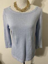 Talbots Womens 100% Linen Blue 3/4 Sleeve Pullover Sweater Sz MP