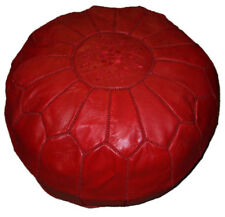 Pouf Moroccan Hassock Pooff Leather Genuine Ottoman Footstool Large Red