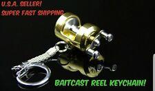 BAITCAST Fishing Reel Miniature Keychain Novelty Gift Charm Fish Key Chain GIFT!