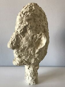 ALBERTO GIACOMETTI STYLE BUST HEAD SCULPTURE - VINTAGE MODERN STATUE 1960s