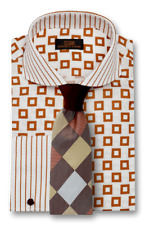 Dress Shirt by Steven Land Classic Fit French Cuff- Brown -DW1736-BR