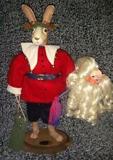 Limited Edition Secret Santa Bunny Rabbit decor Christmas by Virginia Gray Rare