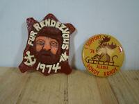 Two 1974 Alaska Fur Rendezvous Pin Badge Anchorage Vintage Rare