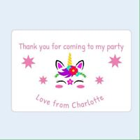 Thank you for coming To My Party Unicorn stickers Favour party birthday Kid Girl
