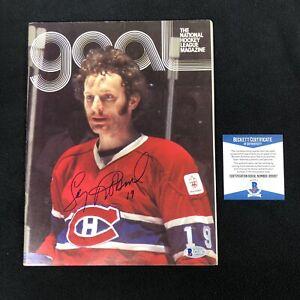 Larry Robinson Signed Montreal Canadiens Goal Magazine Beckett COA