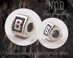 NC Designs Authentic Pandora Silver Alphabet Initial Block Letter B Bead 790323B