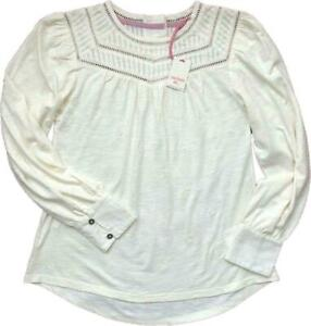 WHITE STUFF WOMENS  IVORY JERSEY EMBROIDERY COTTON TOP BLOUSE 6/22 ONLY £14.95