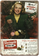 """Rheingold Lager Beer Vintage Beer Ad 10"""" x 7"""" Reproduction Metal Sign E228"""