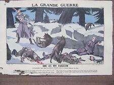 GRAVURE 1914 LA GRANDE GUERRE DANS LES BOIS D'AUGUSTOW BRANCARDIER RUSSE LOUPS