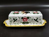 PY UCAGCO Rooster & Roses BUTTER DISH w LID, Early Provincial, Japan, SOLD AS IS