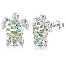 925 Sterling Silver Simulated Opal Sea Turtle Stud Earrings