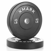 XMark Fitness XM-3385-45-P Olympic 45 lb. Bumper Plates Weights (Pair)