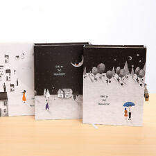 """Moon Girl"" 1pc Big Hard Cover Notebook Lock Box Diary Colored Paper Journal"