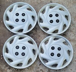 "Set of 4 OEM Saturn SL SL1 SW 14"" Bolt-On Hubcaps Wheel Covers GM p/n 21011500"
