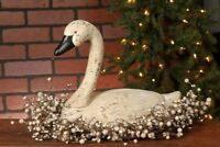 """Large GOOSE Creamy White Resin Rustic Decoy Swan Distressed Farmhouse 15""""L 12""""H"""