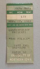 The Police The Fixx Ub40 Rare Concert Ticket Stub Cedar Falls, Ia 11/27/1983