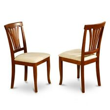 Chair for dining room W/Microfiber Upholstered Seat-Saddle Brow Finish, Set of 2