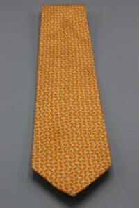 """SALVATORE FERRAGAMO Silk Tie. Orange w Blue Yellow Mini Floral. 59"""" x 3.75"""""""