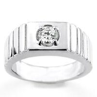 0.35 CT Naturale Diamante Fidanzamento Anelli Massiccio 14K Bianco Oro Uomo Size