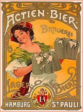Actien-Bier Beer Hamburg Germany Vintage Travel Art Poster Print