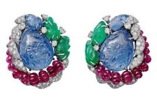 Natural Blue Sapphire 925 Sterling Silver Tutti Frutti Earrings Handmade Jewelry
