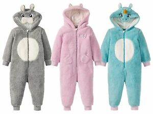Girls 1Onesie1 Plush Fabric Unicorn Rabbit Pink Blue Pyjamas Bodysuit Jump Suit