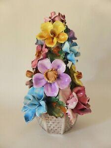 Vintage Pottery Floral Arrangement, Hand Painted Sculpted Flowers, Roses etc
