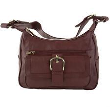 Women's Leather Organizer Purse Multi Pocket Handbag Shoulder Bag Satchel Tote