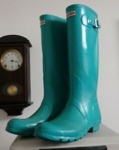 Hunter Turquoise Teal tall rain rubber boots wellies  10 GUC