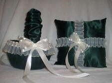 Hunter Green / Ivory Cream Lace Flower Girl Basket & Ring Bearer Pillow