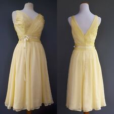 Belsoie Lemon Chiffon Party Dress Full Skirt Pleated Bodice Very Marilyn Sz S 6