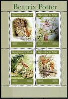Chad 2019 CTO Beatrix Potter 4v M/S I Owls Squirrels Rabbits Animals Stamps