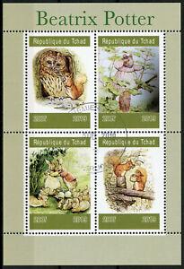 Chad 2019 CTO Beatrix Potter 4v M/S I Owls Squirrels Rabbits Animals Stamps