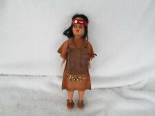 Vintage Native Indian Doll & Fringed Leather Outfit +Mocassins+Moveing Eyes!