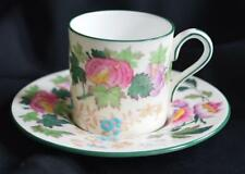 Unique Wedgwood Demitasse Cup & Saucer Pretty Exotic Flowers Made In England