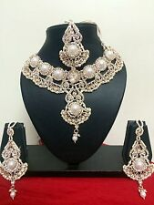 Designer Bollywood Crystal Diamond & Pearl Bridal Jewelry Necklace Set