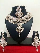 Designer Bollywood Crystal Diamond & Pearl Bridal Jewelry Necklace Set