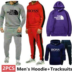 Mens 2PCS Tracksuits Set Hoodies+Trousers Sweatshirt Bottoms Sports Jogging Suit