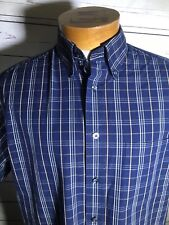 Roundtree Yorke Mens Blue Plaid Button Up Shirt Short Sleeve Size Medium (H)
