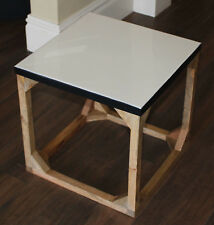 REDUCED   Industrial Style Wood /  Enamel Top  Table ( Small )    BRAND NEW