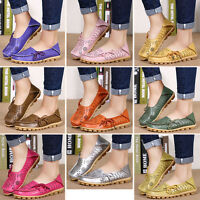 Women Leather Comfort Casual Walk Bowed Flat Shoes Loafers Moccasin Simple Cosy