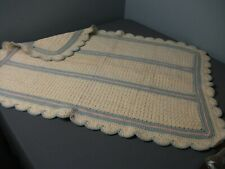 New ListingVintage Wool Knit Baby Blanket - Cream, Pink & Blue - Scalloped Border - 230