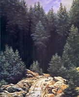 Oil painting caspar david friedrich - early snow forest landscape hand painted