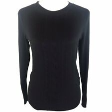 Banana Republic Womens Black Sweater Crew Neck Cable Knit Long Sleeve Pullover S