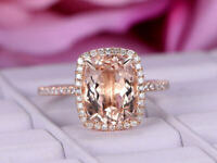 2Ct Oval Cut Morganite Unique Diamond Halo Engagement Ring 14K Rose Gold Finish