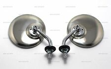 """PAIR OF 4"""" ROUND CHROME LUCAS STYLE WING/DOOR CONVEX MIRROR STAINLESS CLASSIC"""