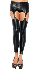 Women PVC Wetlook 4 Clip Suspender Belt Knickers + Stocking, Dungeon Fetish Wear