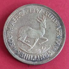 SOUTH AFRICA 1947 GEORGE VI SPRINGBOK SILVER 5 SHILLINGS CROWN
