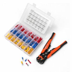 401Pcs Electrical Wire Terminals Kit Cable Stripper Pliers Crimper + Connectors