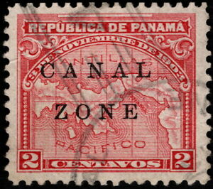 Canal Zone - 1904 - 2 Cents Rose Panama Map Issue w/ Canal Zone Overprint # 10